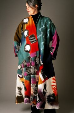 Wool Kundun in Jewel Tones Textiles, Big Girl Fashion, Womens Fashion, Fashion Fashion, Funky Outfits, Artsy Outfits, Wool Vest, Painted Clothes, Altered Couture