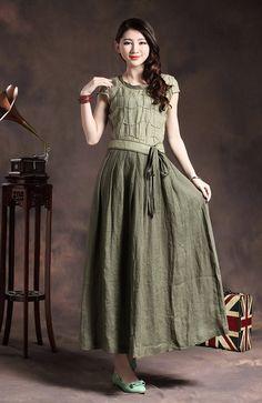 Linen Evening Dress with tucks in Green / Cocktail Wedding Sundress - Custom