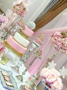 Lovely pink and gold Winter Onederland birthday party! See more party planning ideas at CatchMyParty.com!