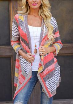 Looks I LOVE! Comfy Casual Watermelon Red Striped Print No Button Fashion Blank Stripe Cardigan