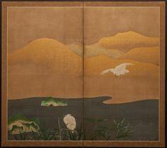 Japanese Screen: Herons at Water's Edge, sliding door inspo