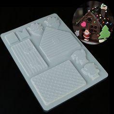 HOt DIY 3D Christmas House Fondant Chocolate Mould Xmas Cake Cutter Mold Decor