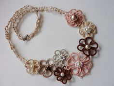 Romantic lace flower necklace in natural pastel by MJsflowerfield, $38.00