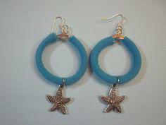 orecchini modello anella licra azzurra di uncinettotuttomatto su DaWanda.com