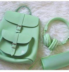 Mint green | backpack | headphones | fashion