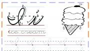 cursive handwriting practice worksheets letter i for ice cream