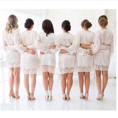 Bridesmaids wearing @whiterunway's Sibella Bridal Robe - #whiterunway ships worldwide - www.whiterunway.com.au