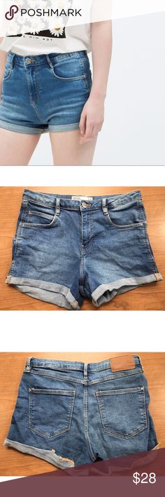 Zara Trafuluc Denim Shorts Dark-medium wash denim shorts. Zara Trafuluc. Size us 06. Semi high waisted and cuff bottoms. The back is coming somewhat uncuffed but easily fixable and I wear them like that for sort of a rougher look. Really cute and worn only a handful of times. Good condition. Open to offers. Zara Shorts Jean Shorts
