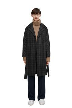 Checked Wool Belted Coat - Black - Jackets & Coats - ARKET SE