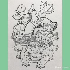 I posted last week to share my anatomical heart using Pokémon types this time it's Grass Pokémon (Gen 1... for now)