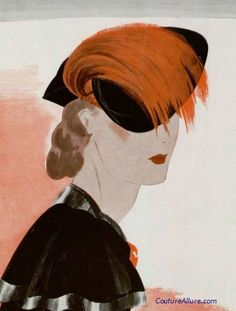Black hat with orange bird of paradise feather by Chanel, 1935.