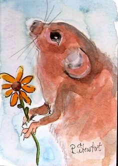 ACEO Field Mouse with flower Painting Art Illustration WC & Pen by Penny StewArt #IllustrationArt www.pennyleestewart.com