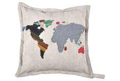 World Map 18x18 Pillow, Gray on OneKingsLane.com; hack it