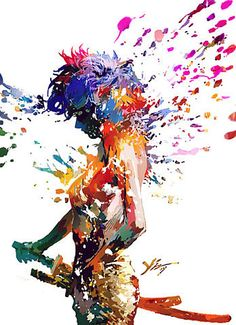 A Creative Universe » Digital art, Woman, Katana, Colors explosion