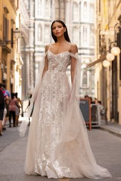 Designer wedding dress with long tulle shoulder streamers Berta Wedding Gowns, Berta Bridal, Tulle Wedding, Wedding Bells, Pure Couture, Muse By Berta, Bridal Dresses, Prom Dresses, Bridesmaid Dress