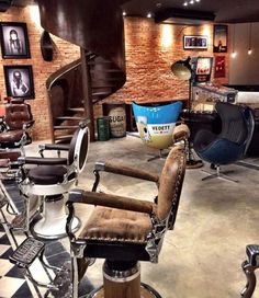 A lofty barbershop with one-of-kind barber chairs.