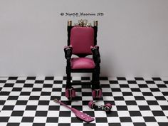 Adult Dollhouse Miniature   BDSM Bondage  Chair with pink Leather in 1:12th scale by NightfallMiniatures on Etsy https://www.etsy.com/listing/259452260/adult-dollhouse-miniature-bdsm-bondage