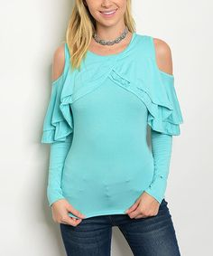 Another great find on #zulily! Aqua Ruffle-Sleeve Shoulder-Cutout Scoop Neck Top #zulilyfinds