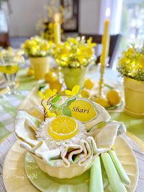 Dining Delight: Mother's Day Lemon Themed Tablescape Yellow Dinner Plates, Yellow Bowls, Mothers Day Dinner, Happy Mothers Day, Battery Operated String Lights, Grace Home, Dinner Themes, Taper Candles, Lemon Yellow