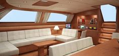 The Baltic 112 Sailing yacht Nilaya Saloon Interior Design Rendering — Luxury Yacht Charter Yacht Design, Luxury Yacht Interior, Interior Design Renderings, Sailboat Interior, Artwork For Home, Cabin Kitchens, Floating House, Decorating Small Spaces, Diy Home Improvement