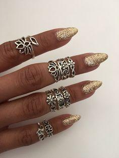 Sterling Silver Flower Toe Rings, Midi Rings, Pinky Rings, Knuckle Rings, Adjustable Rings