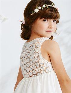 robe de crmonie fille sans manches et macram fuchsiablanc imprimeblanccorail - Robe Cortege Fille Mariage