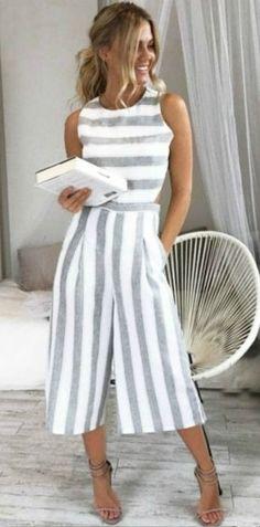 fashion whole woman summer Sleeveless Striped Jumpsuit Casual Wide Leg Pants Outfit combinaison femme 2018 body feminino Fashion Mode, Fashion Outfits, Womens Fashion, Latest Fashion, Fashion Clothes, Fashion Trends, Fashion Styles, Style Fashion, Cheap Fashion