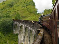 West Highland Line - runs from Fort William to Mallaig on the western coast of Scotland. Voted #1 train journey in the world. Jacobite steam train (aka Hogwart's Express) travels  over the Glenfinnan Viaduct.