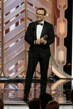 "Christian Slater accepts the award for Best Supporting Actor - Series/Limited Series/TV Movie ""Mr. Robot"" during the 73rd Annual Golden Globe Awards at The Beverly Hilton Hotel on January 10, 2016 in Beverly Hills, California."
