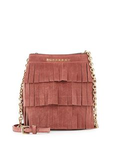Baby Bucket Fringed Suede Bag, Russet Pink by Burberry available at #NeimanMarcus