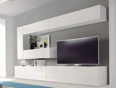 Home theaters minimalista Salones modernos - Muebles Capsir - Living room Living Room Wall Units, Living Room Tv Unit Designs, Home Living Room, Interior Design Living Room, Living Room Decor, Design Interiors, Design Bedroom, Media Room Design, Tv Wall Design