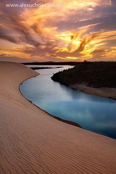 sunset at barra do cauípe, cumbucu, caucaia, ceará, brazil