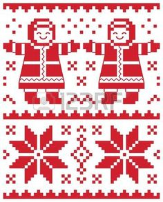 christmas vector card - traditional knitted pattern illustration Stock Vector