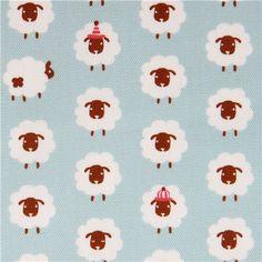 light blue sheep oxford fabric by Kokka 1