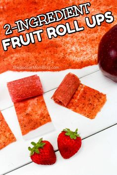 a snack you can feel good about serving your kids! These homemade fruit roll ups are made with real fruit and fun to make! Strawberry Apple Fruit Leather Mom confession: my kids LOVE fruit Fruit Drinks, Fruit Snacks, Fruit Smoothies, Fruit Recipes, Healthy Strawberry Recipes, Kid Snacks, Lunch Snacks, Healthy Snacks, Strawberry Fruit Leather