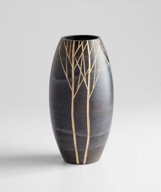 "Cyan Design Small Onyx Winter Vase Cyan Design 06023 Material: Wood Finish: Black Height: 14"" Width: 0"" Length: 0"" Weight: 2.55 LBS Ships Via: UPS #PotteryClasses"