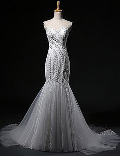 Fit & Flare Sweetheart Court Train Tulle Wedding Dress – USD $ 199.99