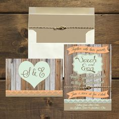 Rustic Fall Wedding Invitation & RSVP Postcard, Printable or Printed with Natural Envelope and Matching Liner on Etsy, $3.15