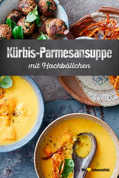 Kürbis-Parmesansuppe mit Hackbällchen Especially in autumn a treat – pumpkin soup. A great combination that impresses family and guests is our creamy pumpkin parmesan soup with meatballs, potato spaghetti and red paprika pesto. Easy Sandwich Recipes, Appetizer Recipes, Parmesan Soup, Spaghetti, Paprika Pesto, Pumpkin Soup, Healthy Drinks, Food And Drink, Stuffed Peppers