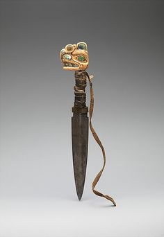 Dagger ; 19th century. Alaska, Tlingit. Ivory, iron, shell, leather