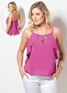 Blusa de Alça com Babados Pink - Posthaus