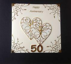 HANDMADE GOLDEN WEDDING ANNIVERSARY CARD 50TH WEDDING ANNIVERSARY