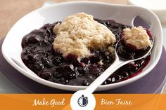 Cozying up to our Blueberry Biscuit Cobbler sounds like a good idea to us! Indulge a little and add a scoop of vanilla ice cream to your bowl! For more delicious recipes like this, subscribe to our e-newsletter on our website!  #makegood #sweet #dessert
