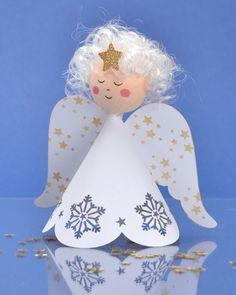 Výsledek obrázku pro andílek z papíru Advent, Ornaments, Disney Princess, Disney Characters, Christmas Ideas, Crafts, Decor, Angels, Manualidades