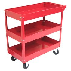 "You should see this Tool Cart in Red I on Daily Sales!  -  $86.99 - Material: Steel Powder coat paint finish for superior scratch and chemical resistance Metal handle Three shelves Product weight: 32 lbs Caster Dimensions: 4"" H x 1"" W Overall Dimensions: 30.7"" H x 29"" W x 15.1"" D"