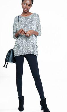 Slub Knit Boxy Pocket Sweater | Express