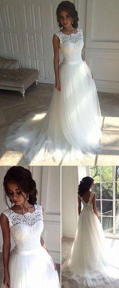 5e6ba59d19e Elegant Appliques White Sweep Train Tulle A Line Wedding Dresses -   Appliques  Dresses