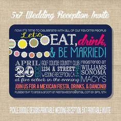 Wedding Reception or Rehearsal Dinner Fiesta Invite, Navy Pink Banner 5x7 printable design