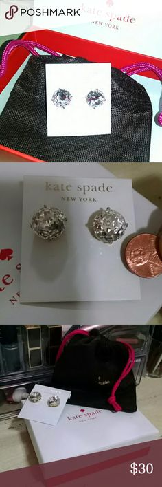 Kate Spade Crystal Earrings Gorgeous sized circular Crystal Sparkle Stud earrings.  Shiny 14kt gold filled posts. Earrings are fantastic for anyone with allergies to commonly used metals in earrings. Comes with dust bag and gift box. Happy Holidays! Bundle and save on shipping costs. 100% AUTHENTIC!!! Kate Spade  Jewelry Earrings