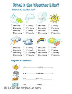A collection of English ESL Weather worksheets for home learning, online practice, distance learning and English classes to teach about Weather Lesson Plans, Weather Lessons, Esl Lesson Plans, Weather Worksheets, Weather Activities, Kindergarten Worksheets, Esl Lessons, English Lessons, Learn English